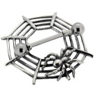 Brustwarzenpiercing mit Barbell und einem Spinnennetzdesign aus 925 Silber