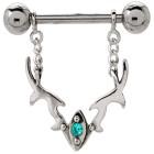 Brustwarzenpiercing aus 925 Sterling Silber Ornament-Anhang mit einem Kristall