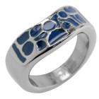 Stahlring mit blauem Acryl